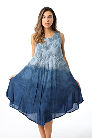 aa2e30a777 Riviera Sun Ombre Tie Dye Summer Dress with Floral Painted Design at Amazon  Women's Clothing store: