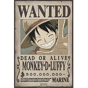 Abystyle Abysse Corp Abydco427 One Piece Poster Wanted Luffy Neuf 52 X 35