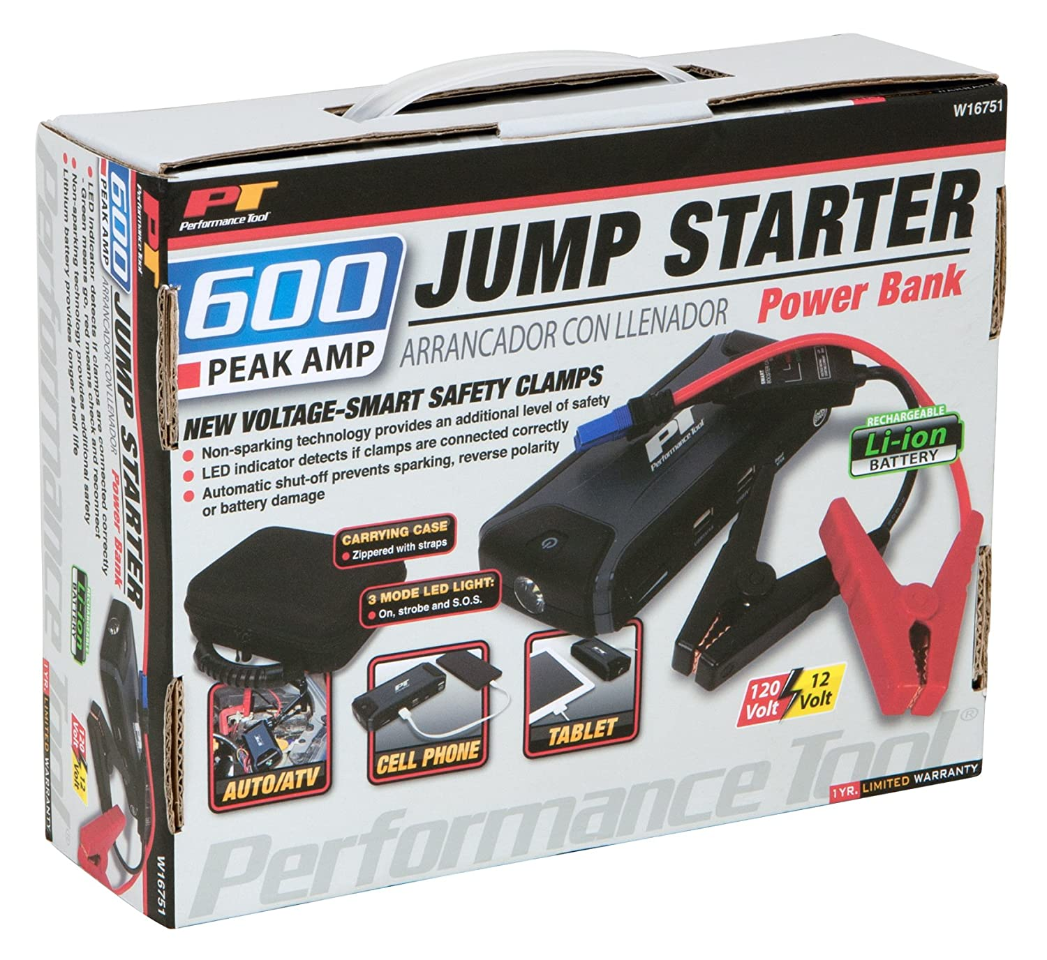 amazon com performance tool w16751 emergency jump starter with