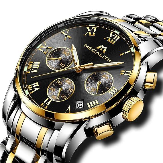 Relojes Hombre Acero Inoxidable Reloj de Pulsera de Lujo Moda Cronometro  Impermeable Fecha Calendario Analogicos Cuarzo Reloj Militar Deportivo  Luminoso ... a9559809c369