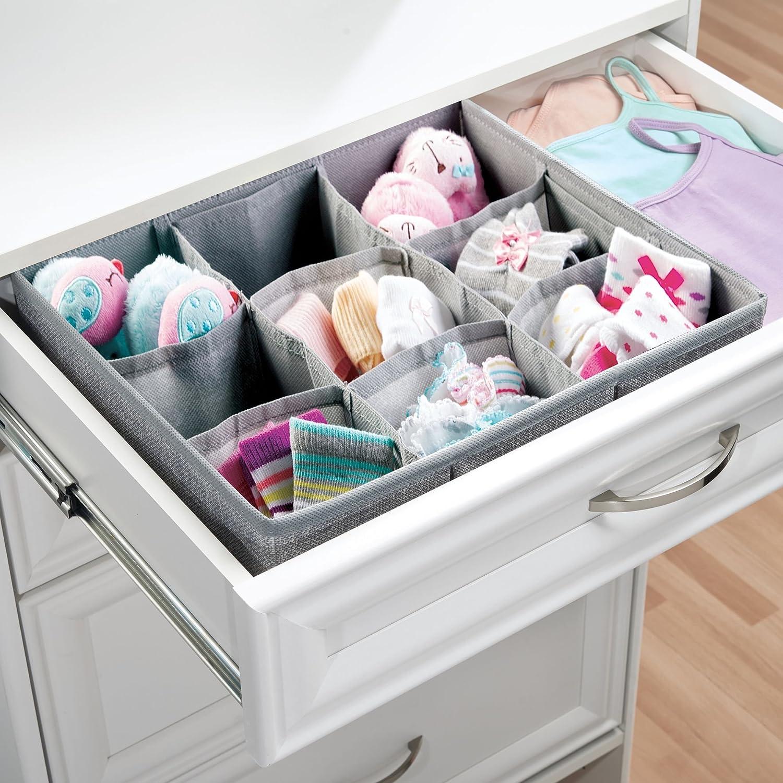 mDesign Organizador para bebe - Cajones organizadores para cosas de bebé, mantas, etc. - Ideal como caja para guardar juguetes - Color: gris: Amazon.es: ...