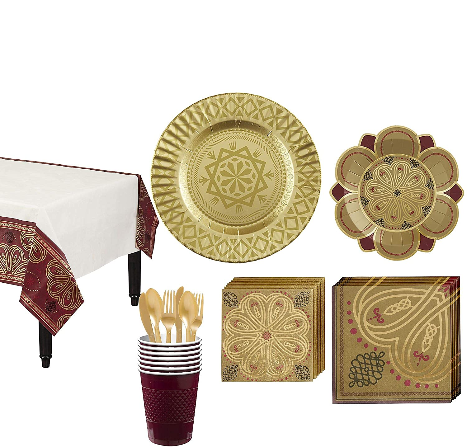 Party City Renaissance Tableware Party Kit for 8 Guests, Medieval Party Supplies, Includes Plates and Cups