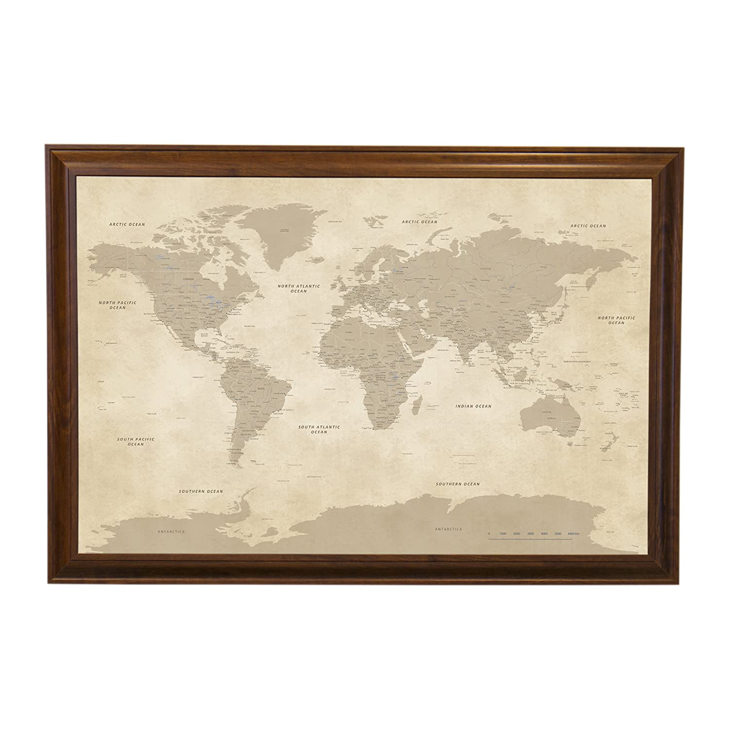 Vintage World Push Pin Travel Map with Brown Frame and Pins 24 x 36 Push Pin Travel Maps