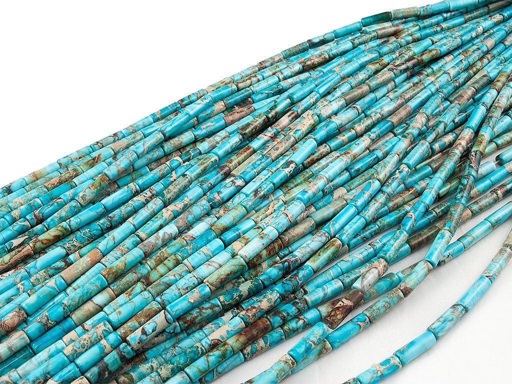 Azul Turquesa DIY 4x13mm Tube Bead Cuenta Tubo~40cm un Tira; Imperial Jasper Green Forest Gems Mostacilla o Chaquira De Piedra Semipreciosa Imperial Jaspe Turquoise Blue Te/ñido Abalorio