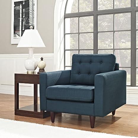 Magnificent Modway Empress Mid Century Modern Upholstered Fabric Armchair In Azure Customarchery Wood Chair Design Ideas Customarcherynet