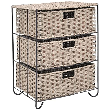 Giantex Storage Organizer End Table Nightstand with 3 Sea Grass Baskets Metal Frame Drawer Shelf Storage Cabinet for Home Bathroom, Bedroom, Living Room and Office