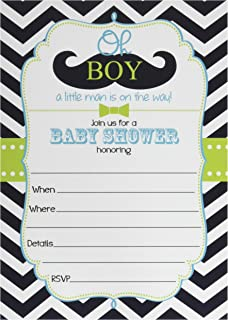 Amazon mustache baby shower invitations with envelopes set of 50 mustache oh boy baby shower invitations and envelopes large size 5x7 little filmwisefo