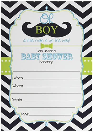 Amazon 50 mustache oh boy baby shower invitations and 50 mustache oh boy baby shower invitations and envelopes large size 5x7 little filmwisefo