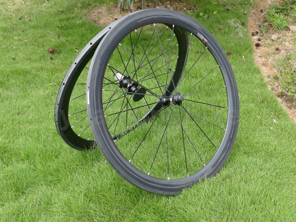 yuanxingbike Full Carbon 3K Brillante Bicicleta de Carretera Tubular Rueda llanta 50mm (Basalto Lado del Freno Anchura 25mm Toray Carbono Juego de Ruedas para Campagnolo