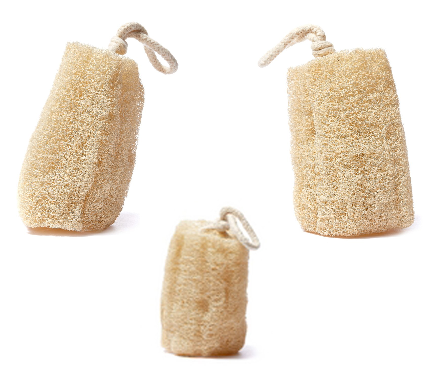 Set of 3 Luxurious 100% Natural Spa Beauty Egyptian Organic Loofah Bath Sponge Body Scrubber. Premium Quality Lofa Loofa Luffa Loffa for Exfoliating Your Skin