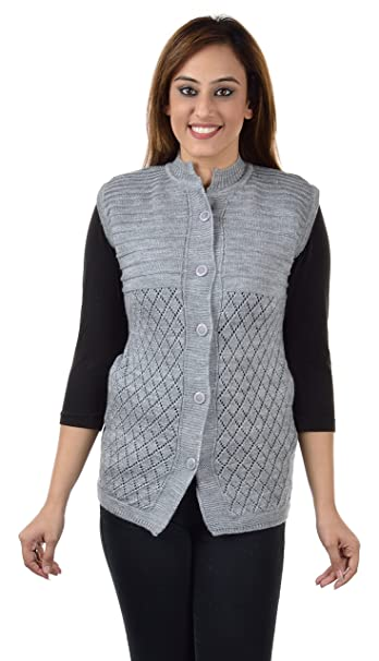 43fe1d81afbf9 Shree Mark Womens   Ladies   Girls Woolen Sleeveless Winter Wear Buttoned  Cardigan and Womens