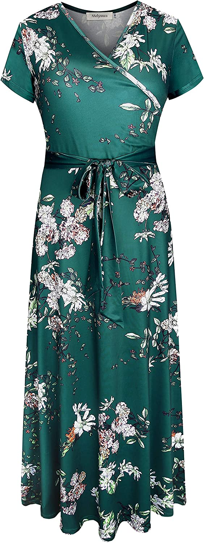 Melynnco Women's Short Sleeve Faux Wrap V Neck Cute Summer Floral Maxi Dress