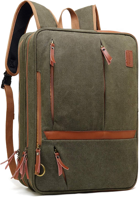 CoolBELL Convertible Messenger Bag Backpack Shoulder Bag Laptop Case Handbag Business Briefcase Multi-Functional Travel Rucksack Fits 17.3 Inch Laptop for Men/Women (Canvas Green)
