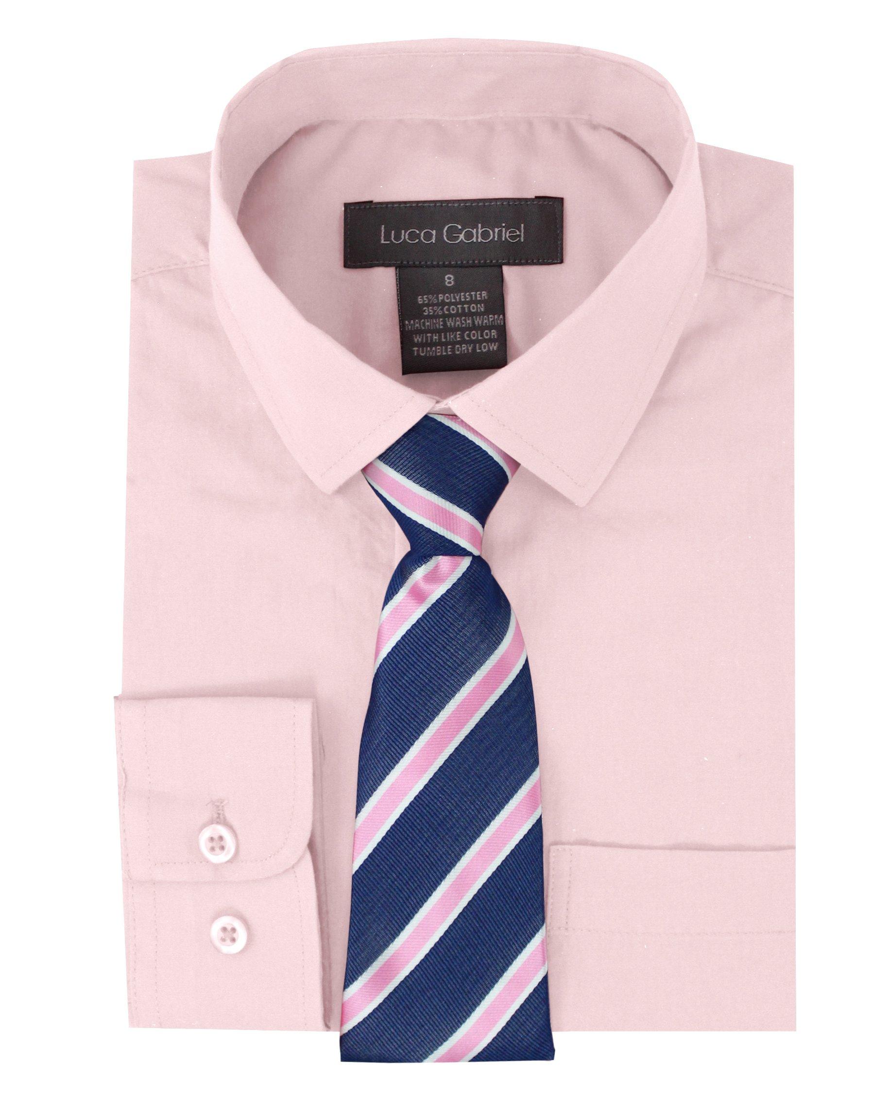 Luca Gabriel Toddler Boy's Long Sleeve Formal Button Down Dress Shirt & Tie Set - Pink Size 8