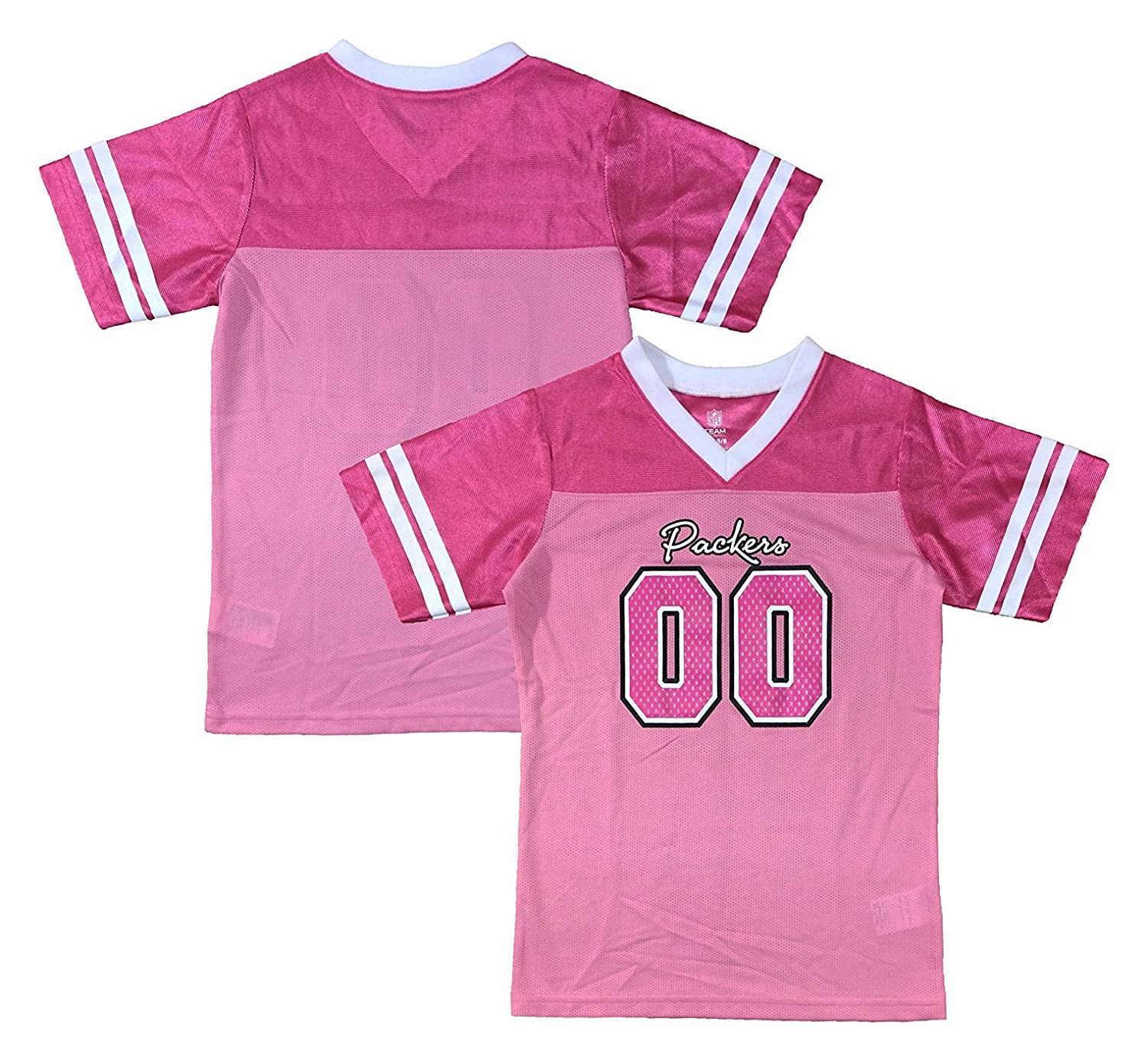 100% authentic 6cfdd f1c9d OuterStuff Green Bay Packers Logo #00 Pink Dazzle Girls Kids ...