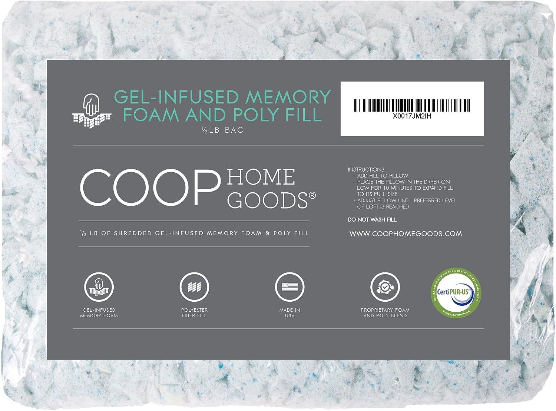 Coop Home Goods - Adjustable Shredded Gel Memory Foam and Poly Fiber Fill - for Eden Pillow - ½ lb - CertiPUR-US Certified