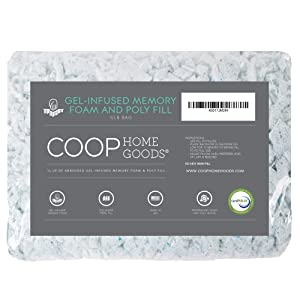 Coop Home Goods - Adjustable Shredded Gel Memory Foam and Poly Fiber Fill - for Eden Pillow - ½ lb - CertiPUR-US Certified