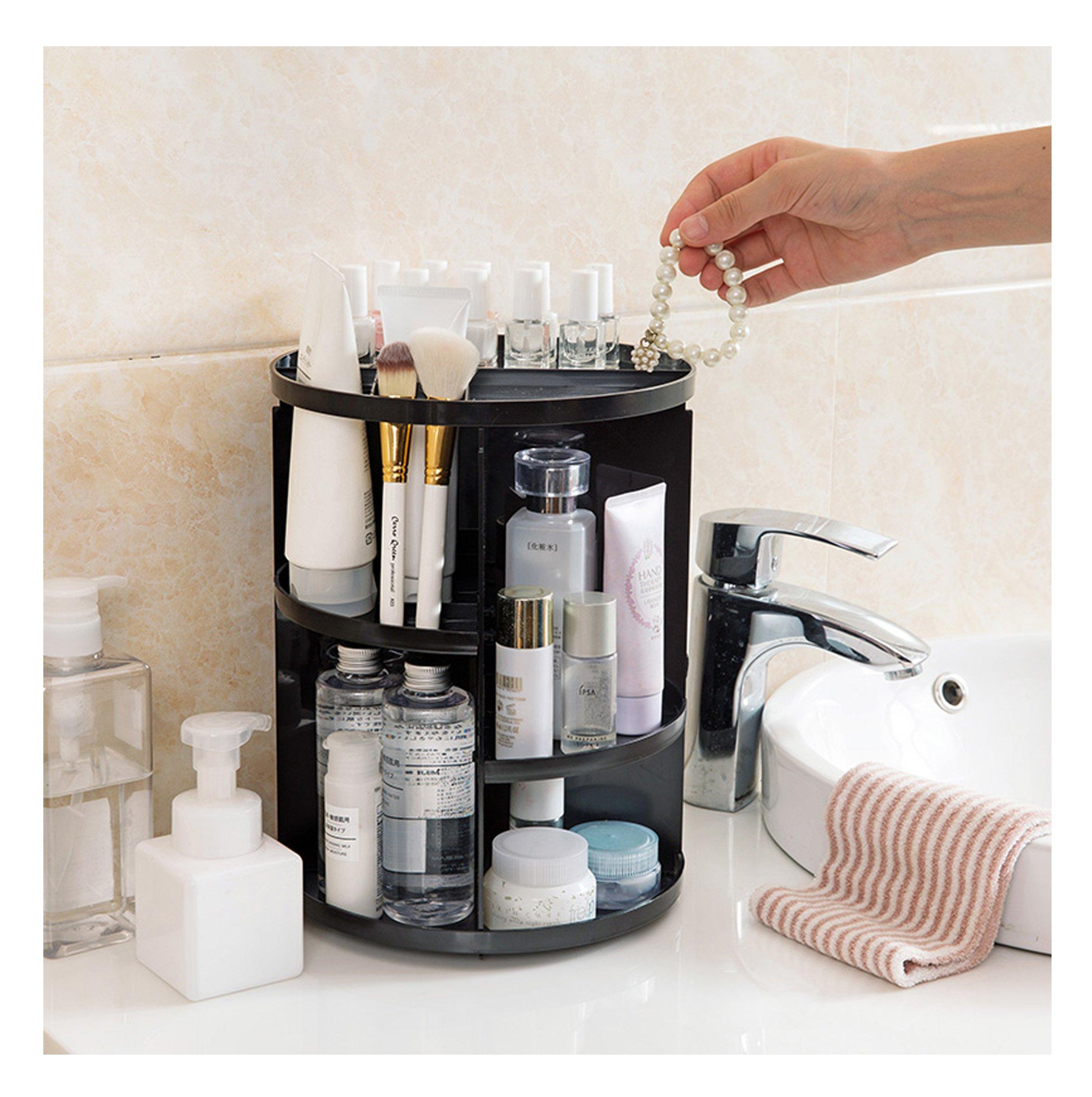 JJMG NEW 360° Rotation Table Top Make Up Organizer - Plastic Black Cosmetic Storage Case
