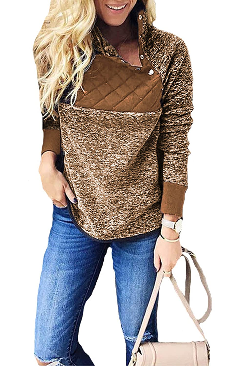 Hibluco Women's Casual Long Sleeve Contrast Button Pullover Fleece Sweater Jacket