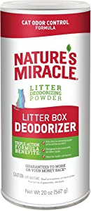 Nature's Miracle Litter Box Deodorizer, 20 oz, Litter Deodorizing Powder, Cat Odor Control Formula