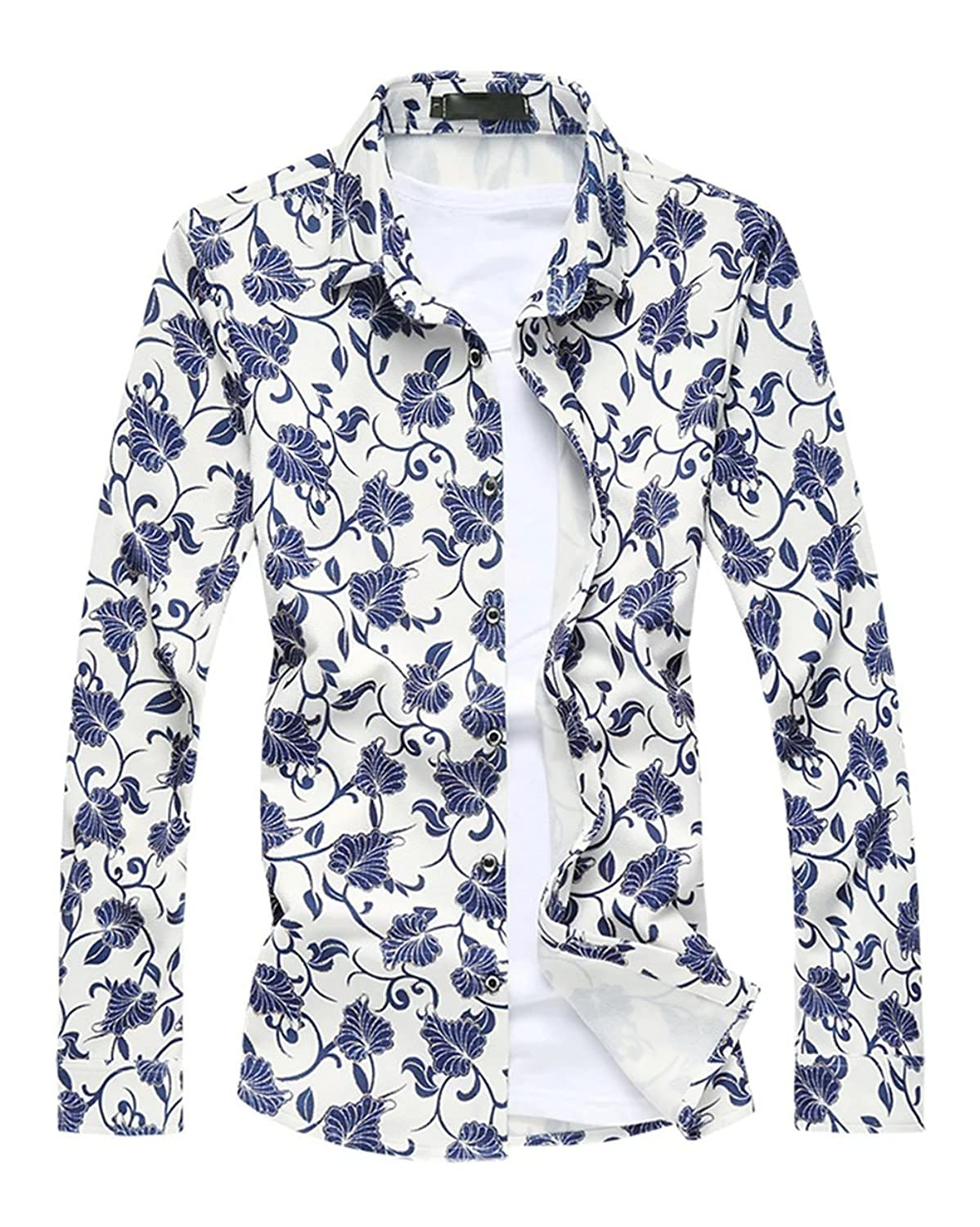 Cameinic Men's Floral Print Button Down Long Sleeves Casual Flower Dress Shirt