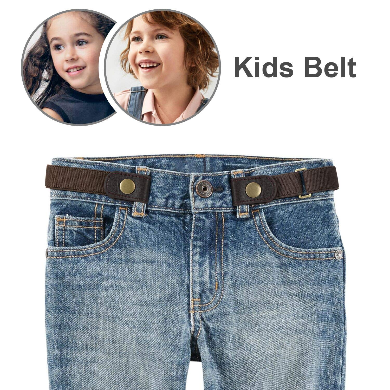 No Buckle Stretch Belt for Child Boys/Girls Buckle Free Kids Belt Up to 22' YC20058-coffee-s