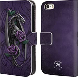 Official Anne Stokes Beauty 1 Dragons 3 Leather Book Wallet Case Cover Compatible for Apple iPhone 5 / iPhone 5s / iPhone SE 2016