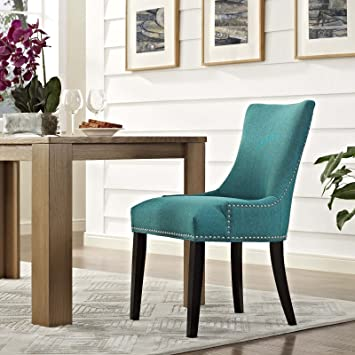 Amazon.com   Modway Marquis Modern Elegant Upholstered Fabric Parsons Dining  Side Chair With Nailhead Trim And Wood Legs In Teal   Chairs