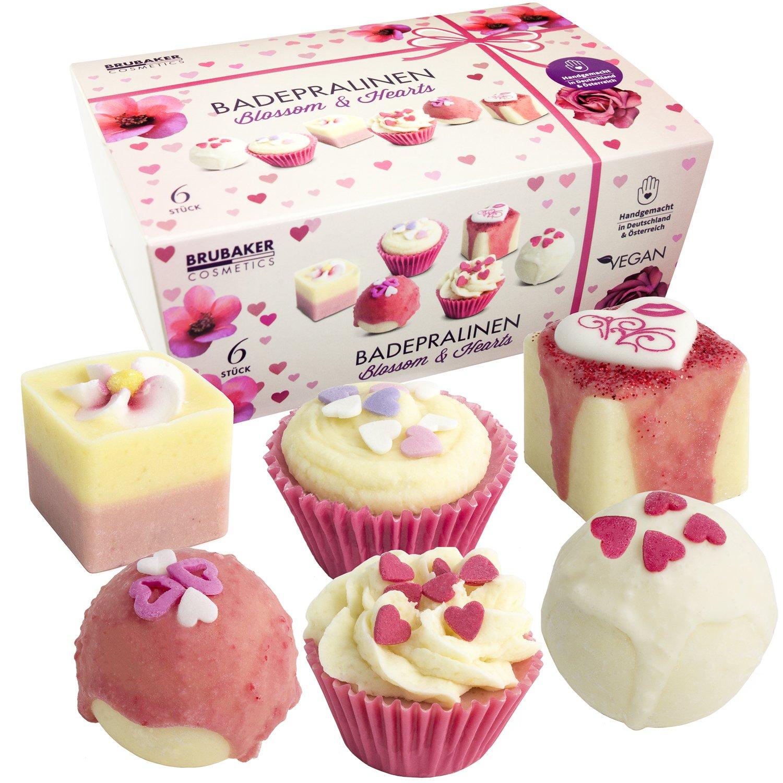 BRUBAKER Set cosmetica bombe da bagno 'Blossom & Hearts' - 6 pezzi - Fatti a mano e vegane