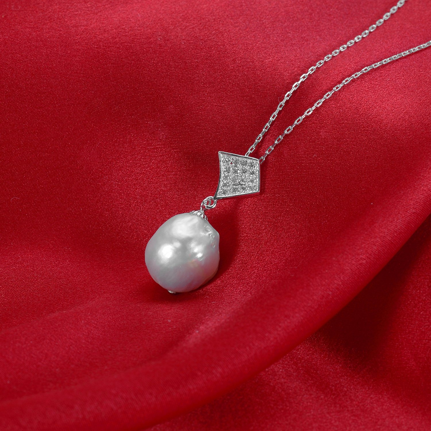 CS-DB Jewelry Silver Baroque Style White Pearl Chain Charm Pendants Necklaces