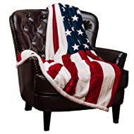 Chanasya Patriotic US Flag Print Fleece Sherpa Throw Blanket - Super Soft Ultra Plush Lightweight Microfiber Cozy Warm for Couch Bed Chair Office Sofa - Great Gift for Men Women House - 50 x 65 Inches