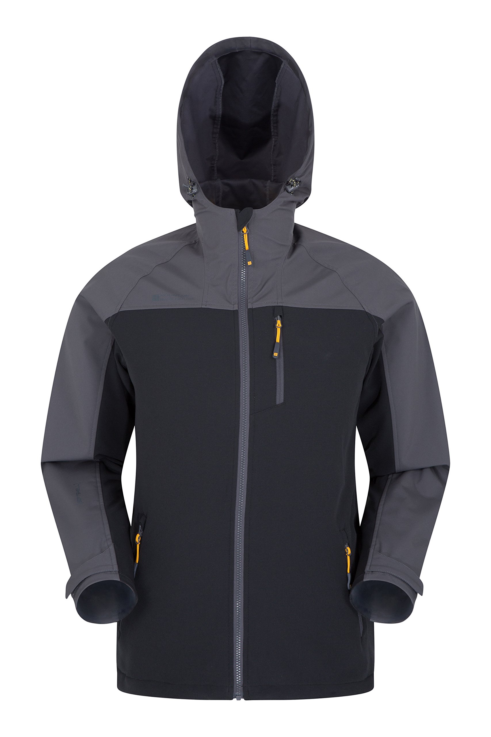 Mountain Warehouse Whirlwind Mens Softshell Jacket - Summer Rain Coat Black Large