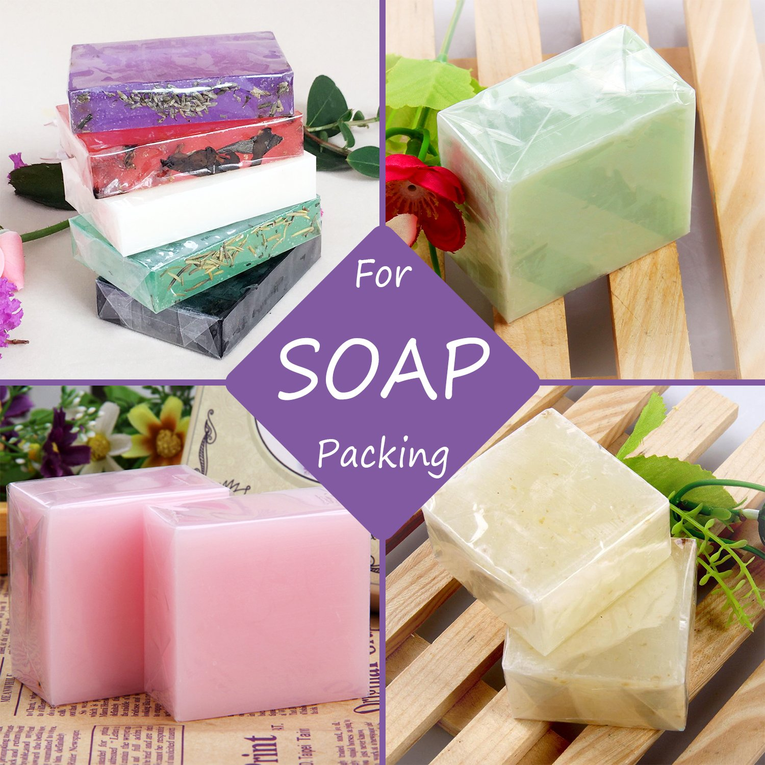 Handmade Soap Making Supplies Clear Heat Shrink Bags Gift Wrappers for DIY Bath Bomb Packaging Supplies Kit DecorRom Shrink Wrap Bags 300 Pcs Bath Bomb Bags for Little Items and DIY Crafts