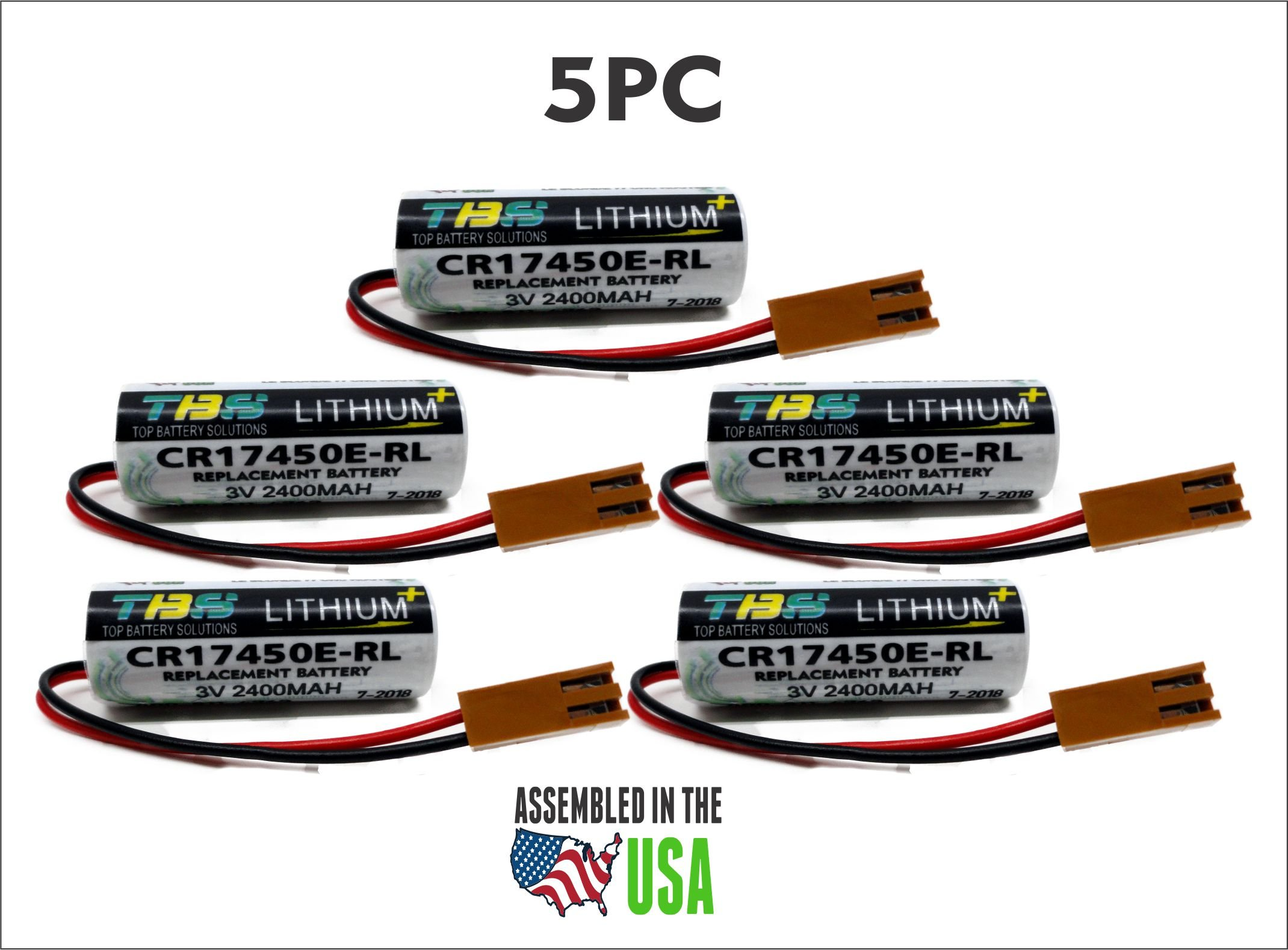 5PC GE Fanuc CR17450E-RL, A02B-0200-K102,PLC Replacement Battery 3.0V Lithium PLC