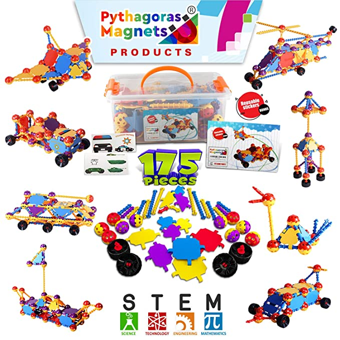 Kids Education Construction Connecting Building Toys For Kids 175 Piece Construction Toys For Boys And Girls Ages 3 4 5 6 7 8 9 10 Years Old Best