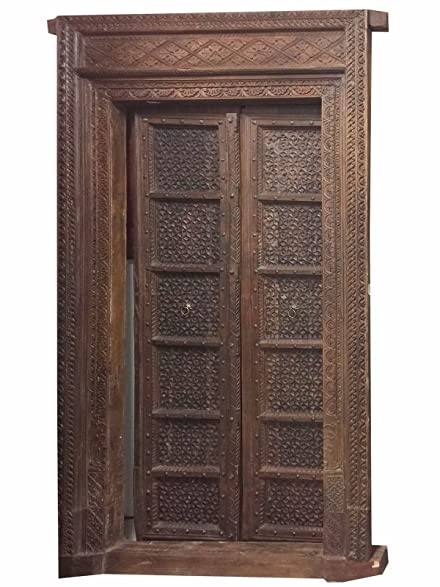 Antique Doors Floral Hand Carved Teak Wood Double Door & Frame Indian  Haveli Mid Century Old - Amazon.com: Antique Doors Floral Hand Carved Teak Wood Double Door