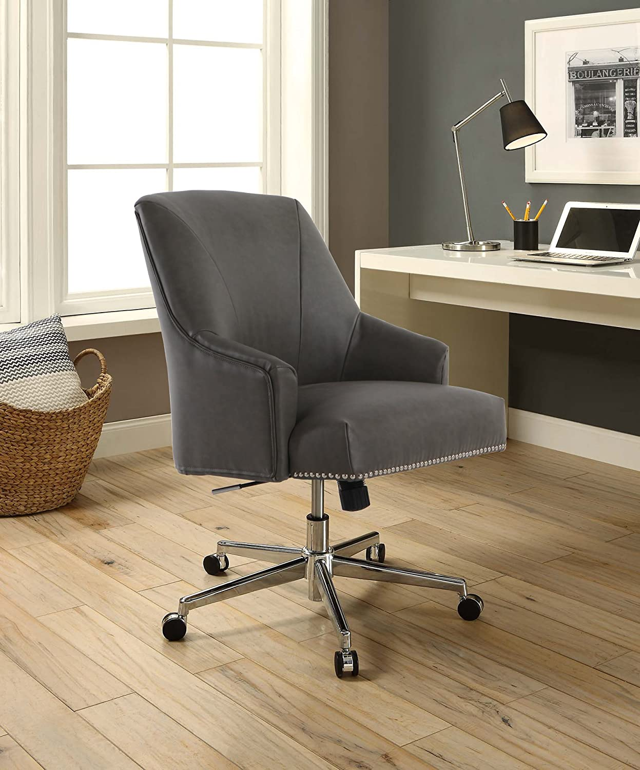 Serta Style Leighton Home Office Chair, Gathering Gray Bonded Leather