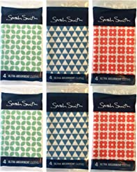 Sarah Smith Mixed Pattern Ultra Absorbent Cloths x 24 (2x4 red+2x4blue+2x4green)