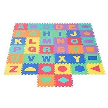 Homcom Alfombra Puzle Niños Colchoneta Suave 3.42㎡ Juego Rompecabezas para Niños 38pcs Figuras Geométricas y Letras Alfabeto Espuma EVA