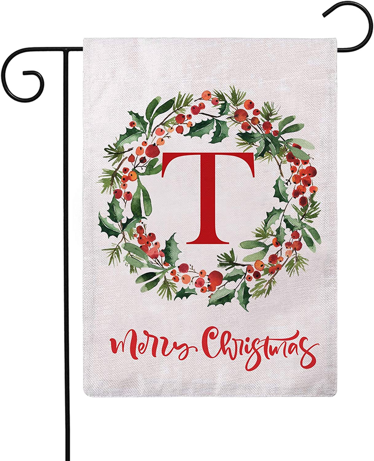 ULOVE LOVE YOURSELF Merry Christmas Wreath Decorative Garden Flags with Monogram Letter T Double Sided Winter Holiday Outdoor Garden Flags 12.5×18 Inch for House Garden Yard Patio Decor (T)
