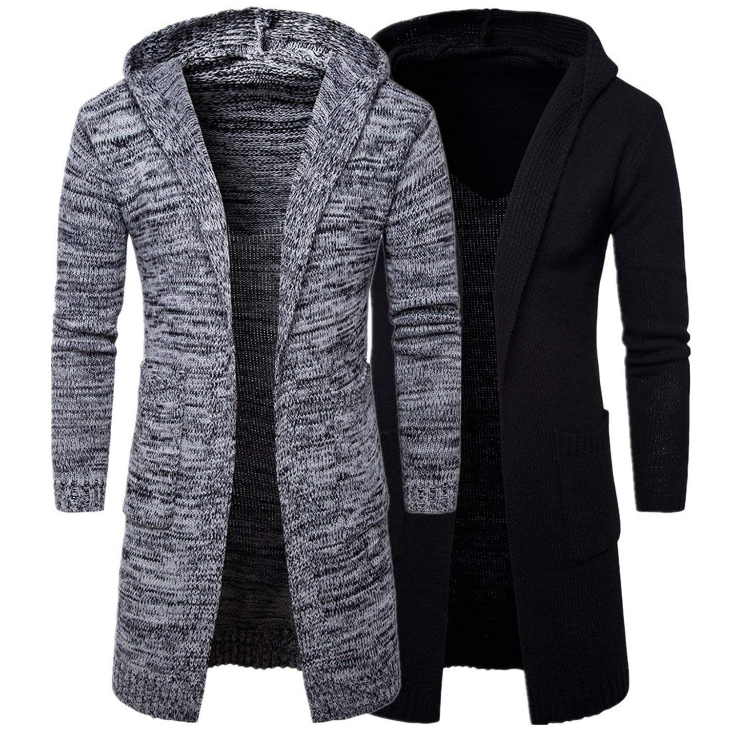 Freezing Mens Winter Warm Sweaters Long Hooded Outwear Coat Knitted Sweaters for Male 2 Color Thick Jackets