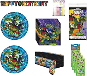 Party Bundle TMNT Teenage Mutant Ninja Turtles Birthday Party Supplies for 16 includes Plates, Napkins, Table Cover, Birthday Banner, Stickers