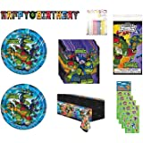 Party Bundle TMNT Teenage Mutant Ninja Turtles Birthday Party Supplies for 16 includes Plates, Napkins, Table Cover…