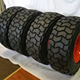 Set of Four (4) 12-16.5 ROAD CREW RS102 14 PLY Skid Steer Loader Tire with Orange Color Rims mounted, RS-102