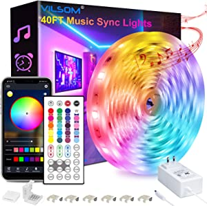 40FT Led Strip Lights, ViLSOM Smart APP and Remote Control Music Sync Led Lights for Bedroom, Room, Ceiling, Party, Home Decoration with SMD 5050LED 16 Million Colors RGB Light Strip Bias Lighting