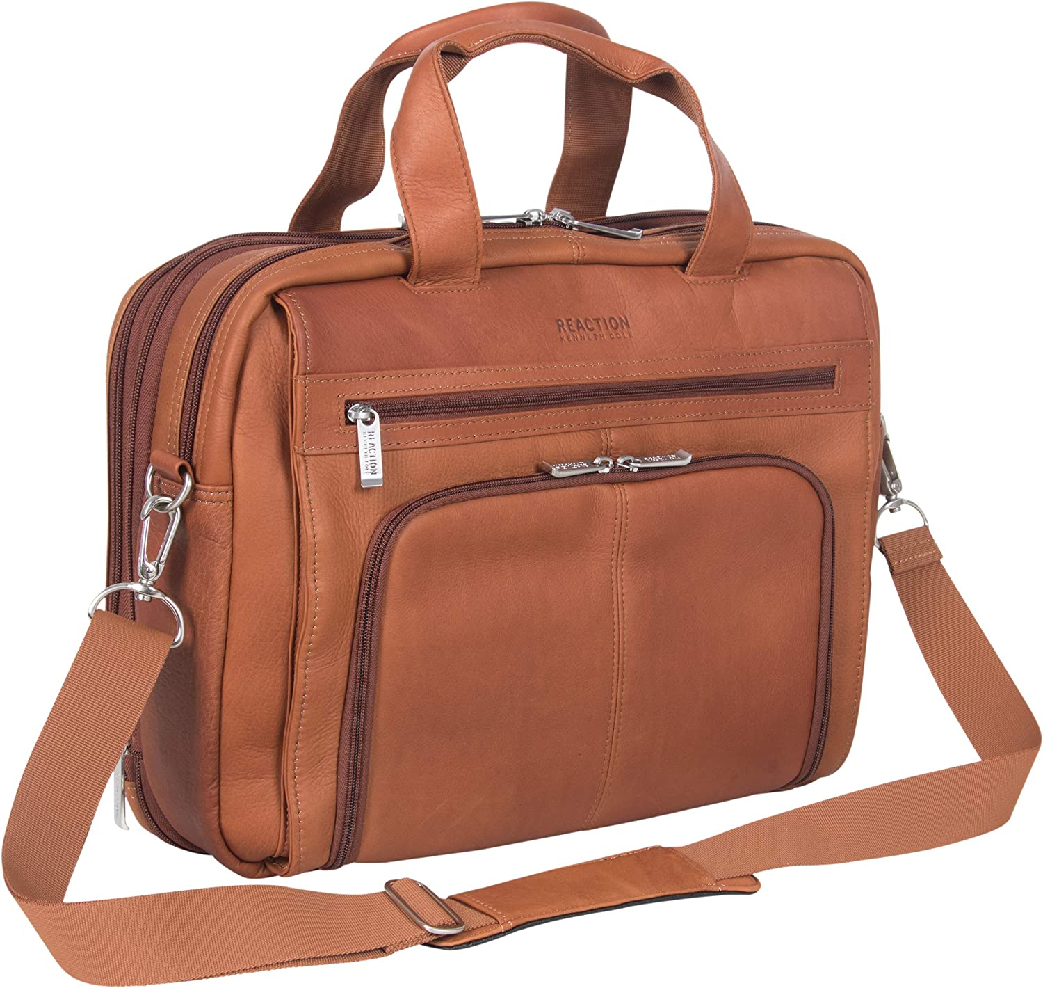 "Kenneth Cole Reaction Colombian Leather Dual Compartment Expandable 15.6"" Laptop Portfolio, Cognac"