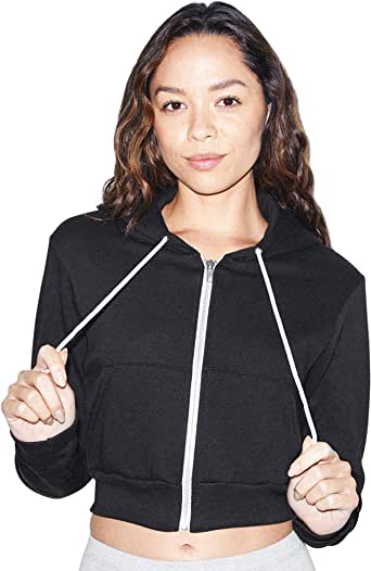 American Apparel Women's Flex Fleece Cropped Long Sleeve Zip Hoodie