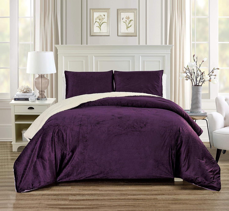 GrandLinen 3 Piece King Size Solid Dark Purple Micromink Velvet Comforter Set with Ultra Soft Sherpa Borrego Backing. Warm Heavy Weight Bedding