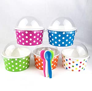 Worlds Paper Ice Cream Cups With Dome Lids No Hole And Plastic Spoons,Polka Dot 6oz Mix 25 Set