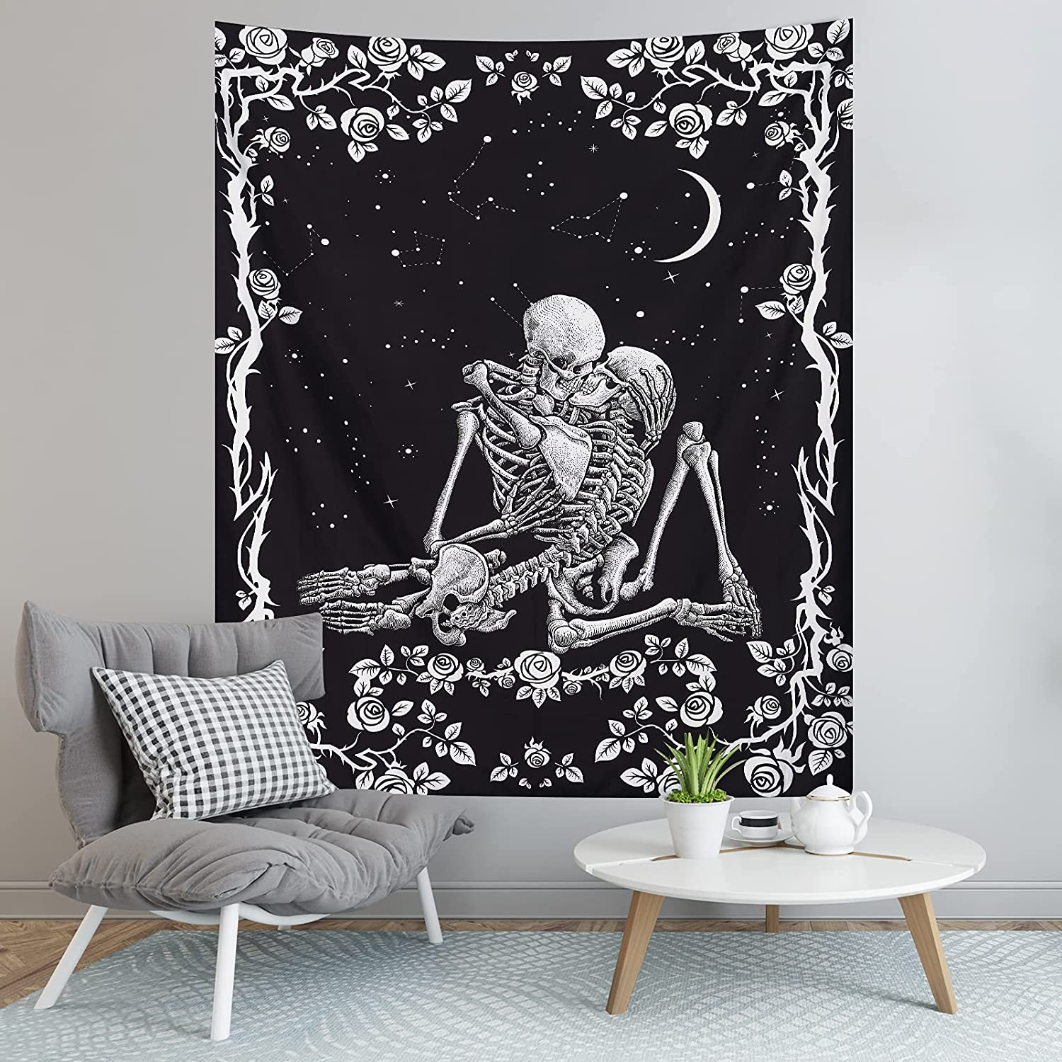 Pocass Skull Tapestry Black and White The Kissing Lovers Tapestry Wall Hanging Romantic Tarot Tapestry Aesthetic Human Skeleton Tapestries for Bedroom, 51.2